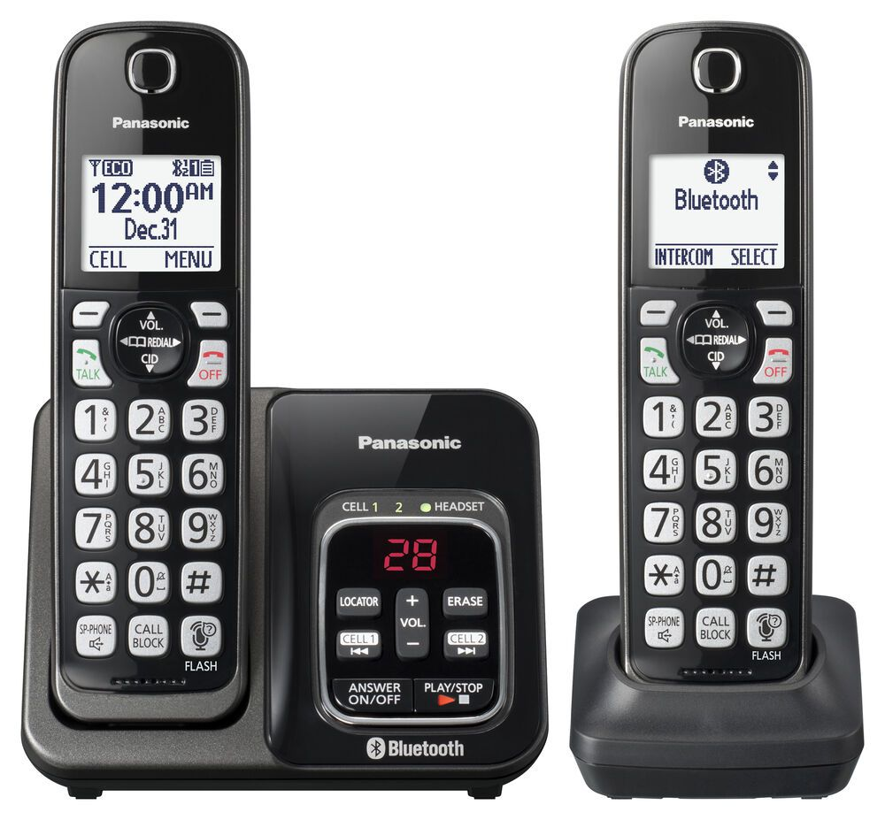Panasonic makes several different cordless phones that have Link2Cell, which lets users connect their cell phones via Bluetooth to allow the cordless handsets to make and answer calls using the cell number.