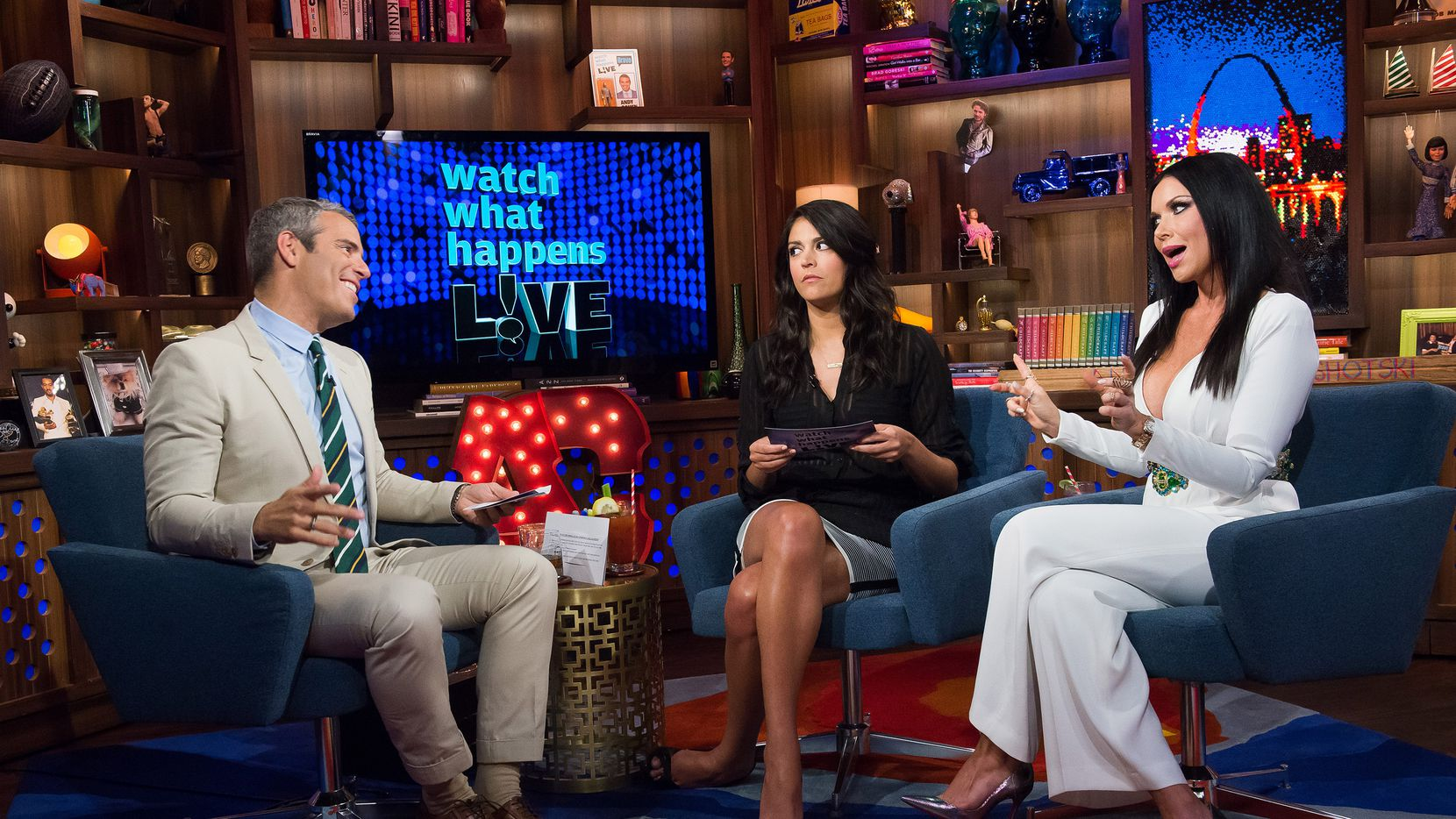 """Andy Cohen looks like he doesn't believe a thing anyone is saying on """"Watch What Happens Live"""" on Monday night. Cecily Strong of """"Saturday Night Live"""" and LeeAnne Locken of """"The Real Housewives of Dallas"""" were guests."""