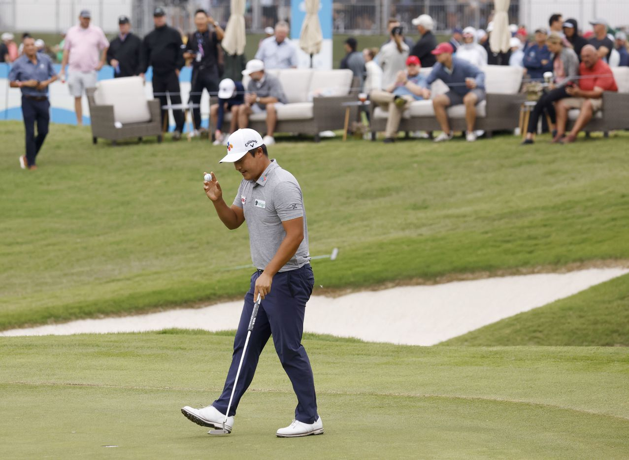 Kyoung-Hoon Lee acknowledges the crowd after sinking a birdie on the 6th hole during round 4 of the AT&T Byron Nelson  at TPC Craig Ranch on Saturday, May 16, 2021 in McKinney, Texas. (Vernon Bryant/The Dallas Morning News)