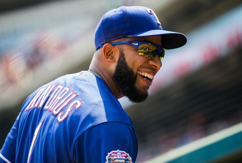 Texas Rangers shortstop Elvis Andrus (1) smiles in the dugout during the first inning of an MLB game between the Texas Rangers and the Seattle Mariners on Sunday, September 1, 2019 at Globe Life Park in Arlington. (Ashley Landis/The Dallas Morning News)