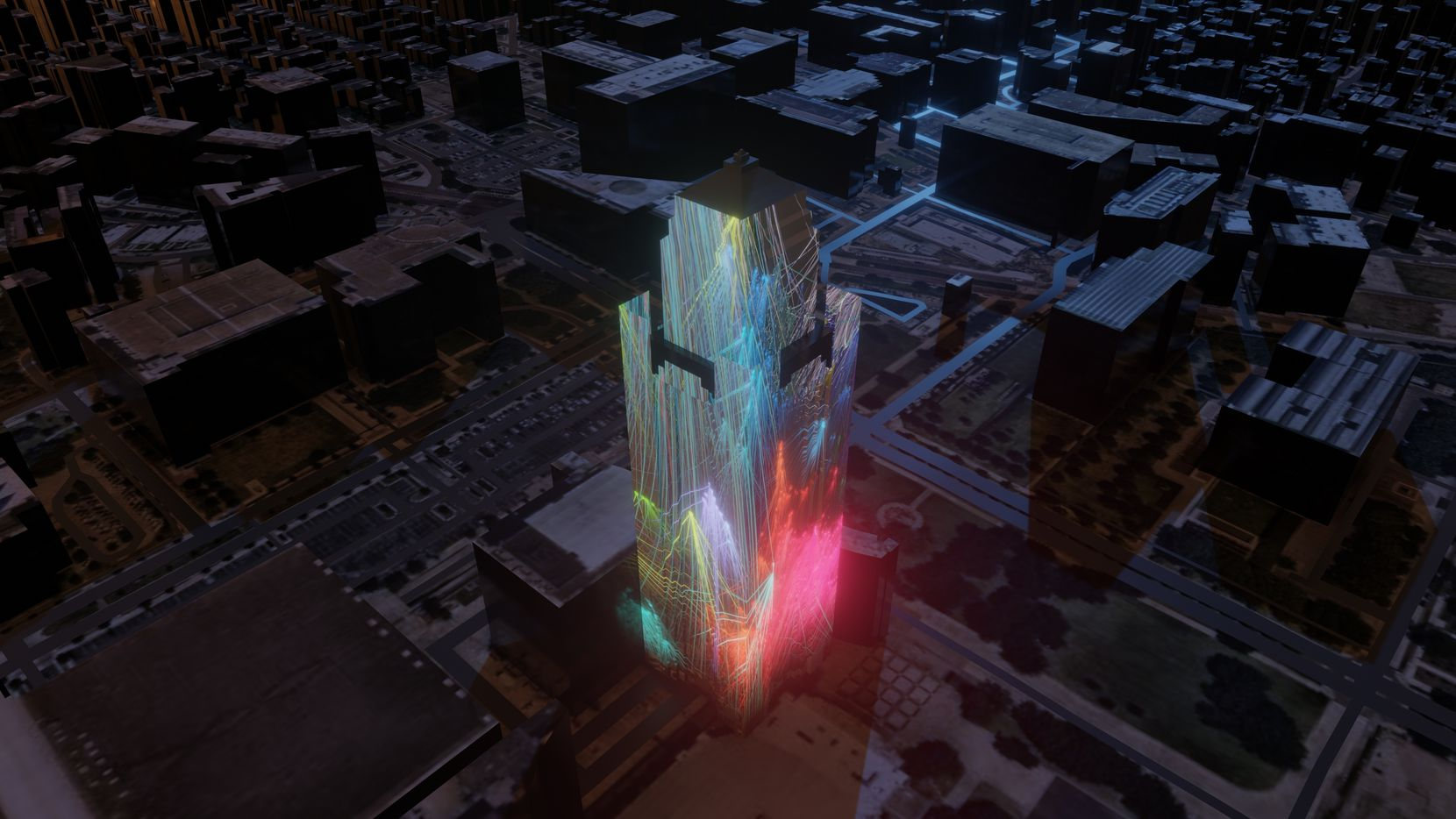 """A rendering of Pioneer Tower Dreams, a projection by Refik Anadol created for """"New Stories: New Futures"""" in Fort Worth."""