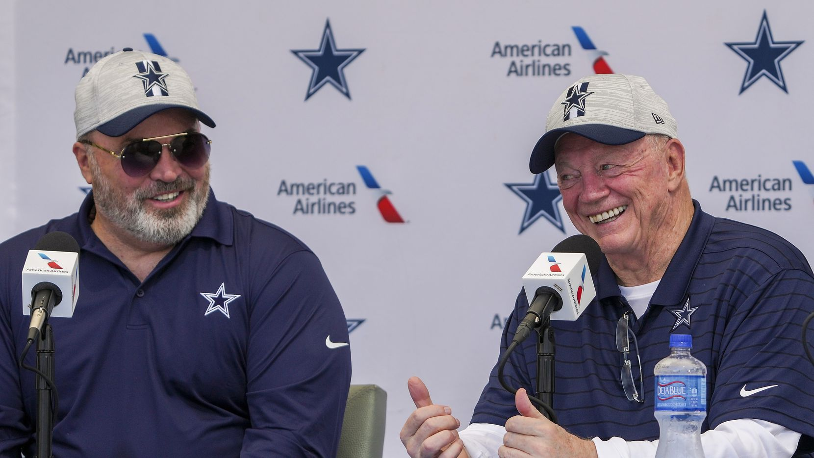 Dallas Cowboys owner and general manager Jerry Jones (right) and Dallas Cowboys head coach Mike McCarthy address the opening news conference for team's training camp on Wednesday, July 21, 2021, in Oxnard, Calif.