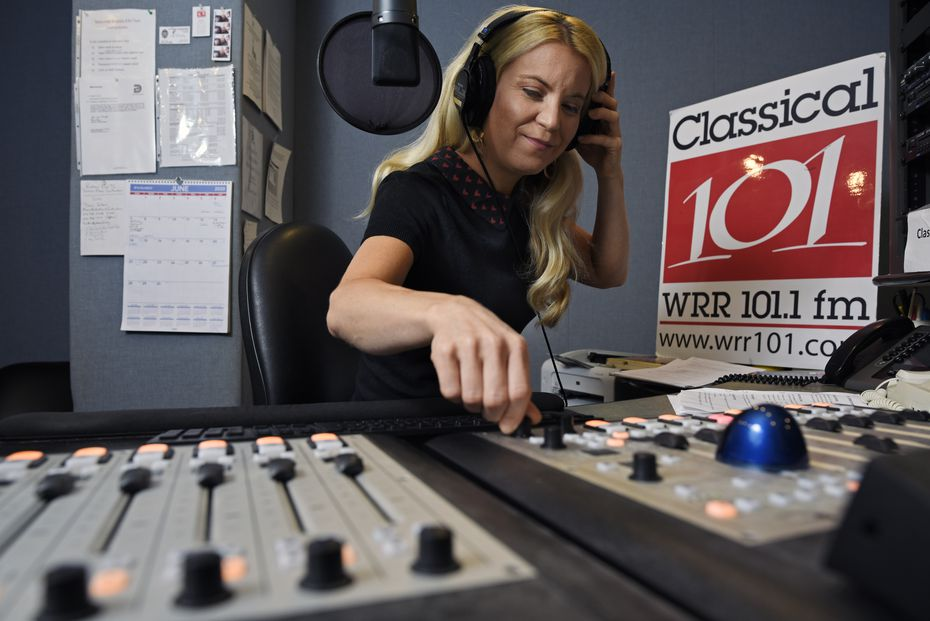 Amy Bishop adjusts a control knob at the WRR studios during a recording session for her midday show.