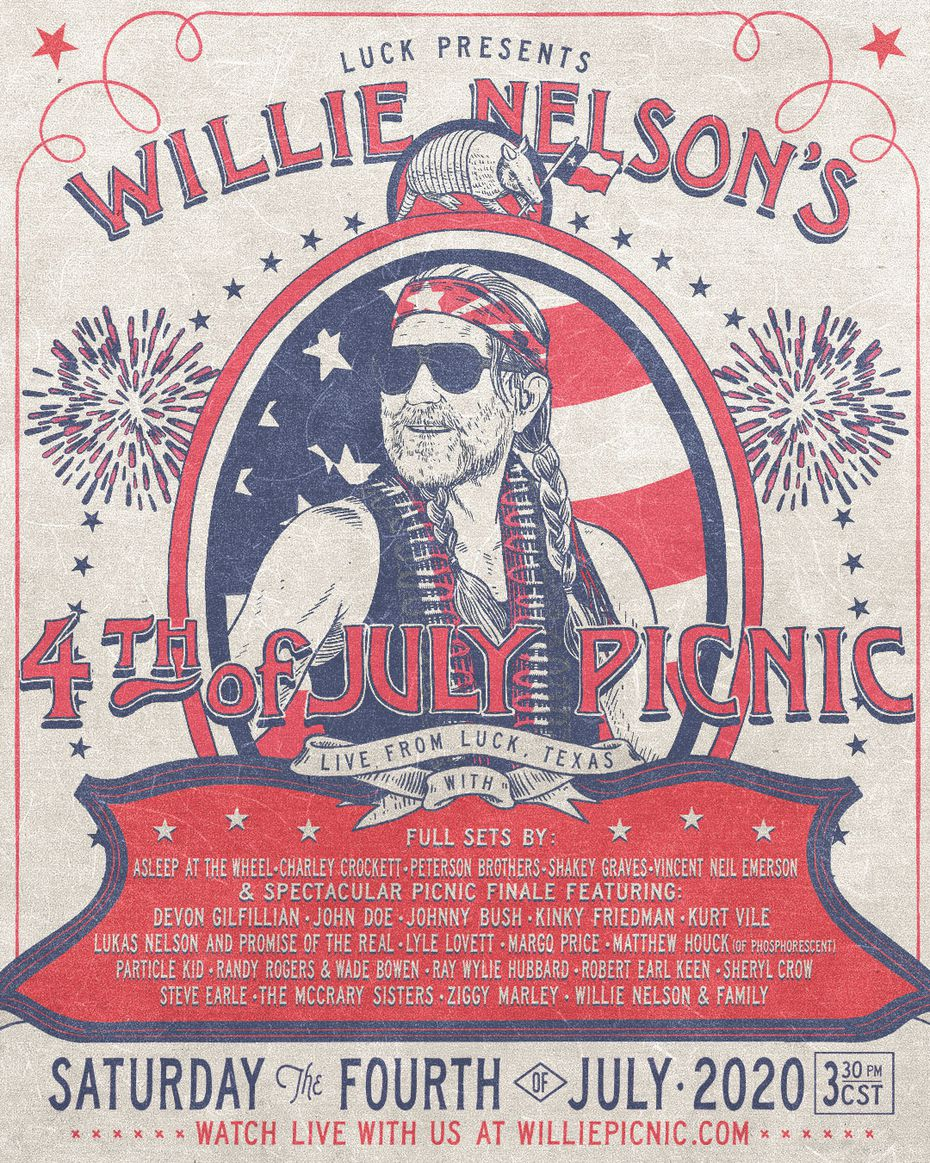 Willie Nelson's 4th of July Picnic will take place as an online event this year due to concerns about COVID-19.
