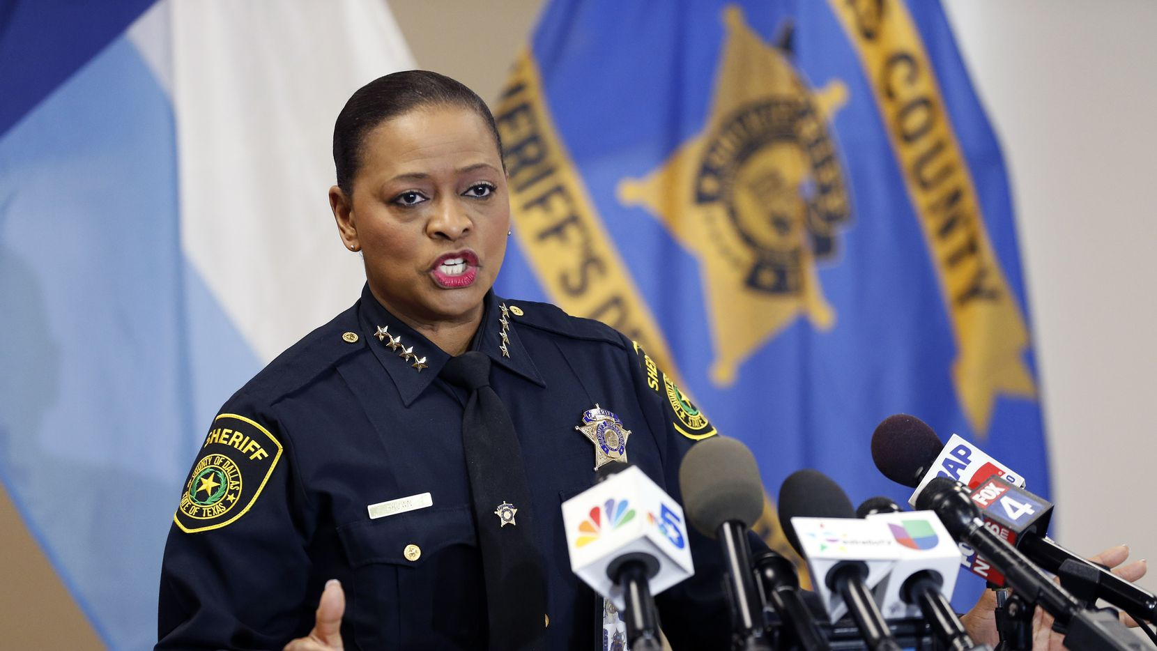 Dallas County Sheriff Marian Brown speaks about the arrest of one of their own, deputy Austin Palmer, 33, during a press conference at the Frank Crowley Courts Building in Dallas, Friday, January 17, 2020.  Palmer was booked on charges of assault causing bodily injury and official oppression, Thursday. Both are misdemeanors. The Sheriff explained Palmer mistreated a man in custody during a prisoner transport. He has since bonded out. (Tom Fox/The Dallas Morning News)