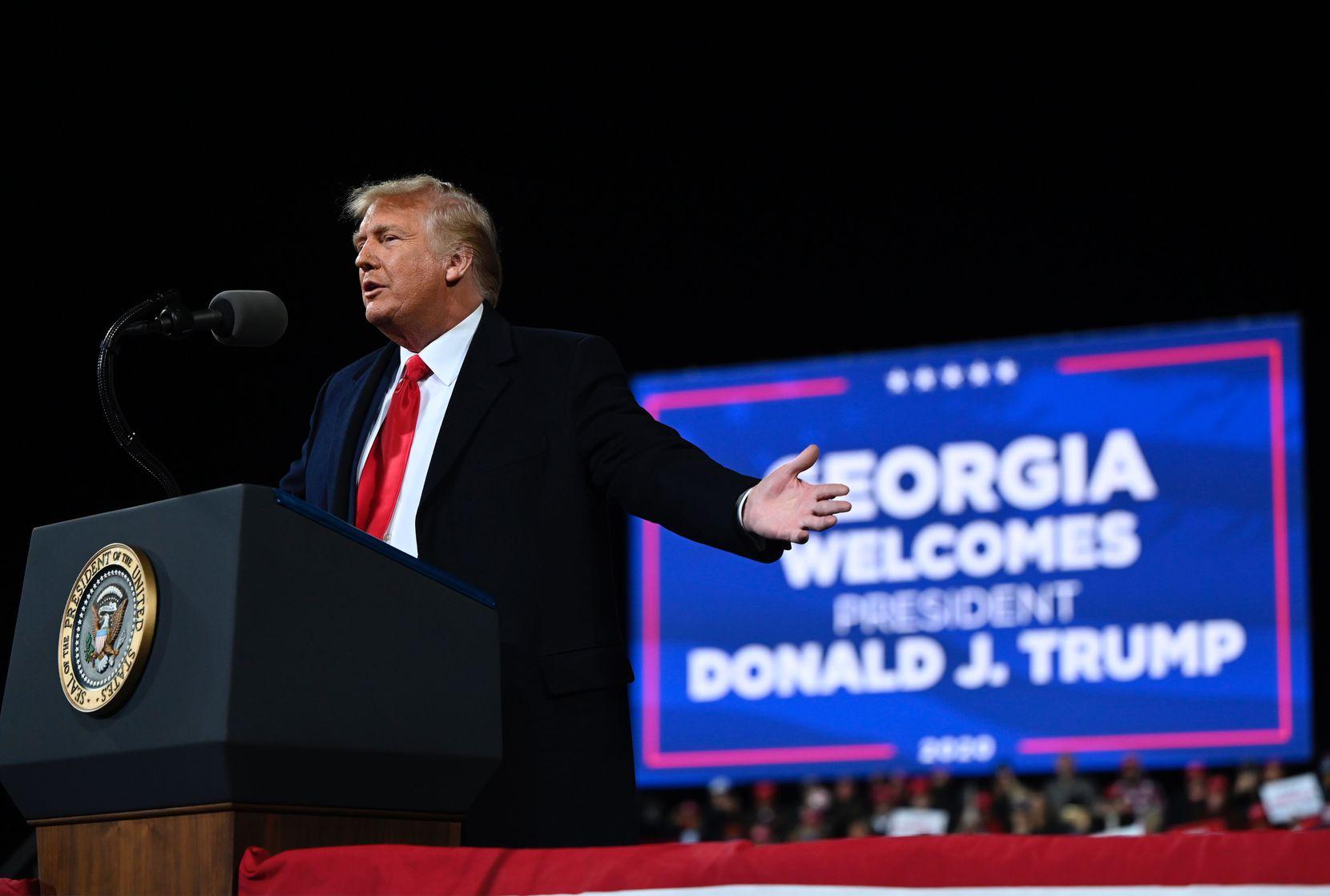 President Donald Trump speaks at a rally in support of Republican U.S. Senate candidates Kelly Loeffler and David Perdue at Valdosta Regional Airport in Valdosta, Ga., on Saturday.