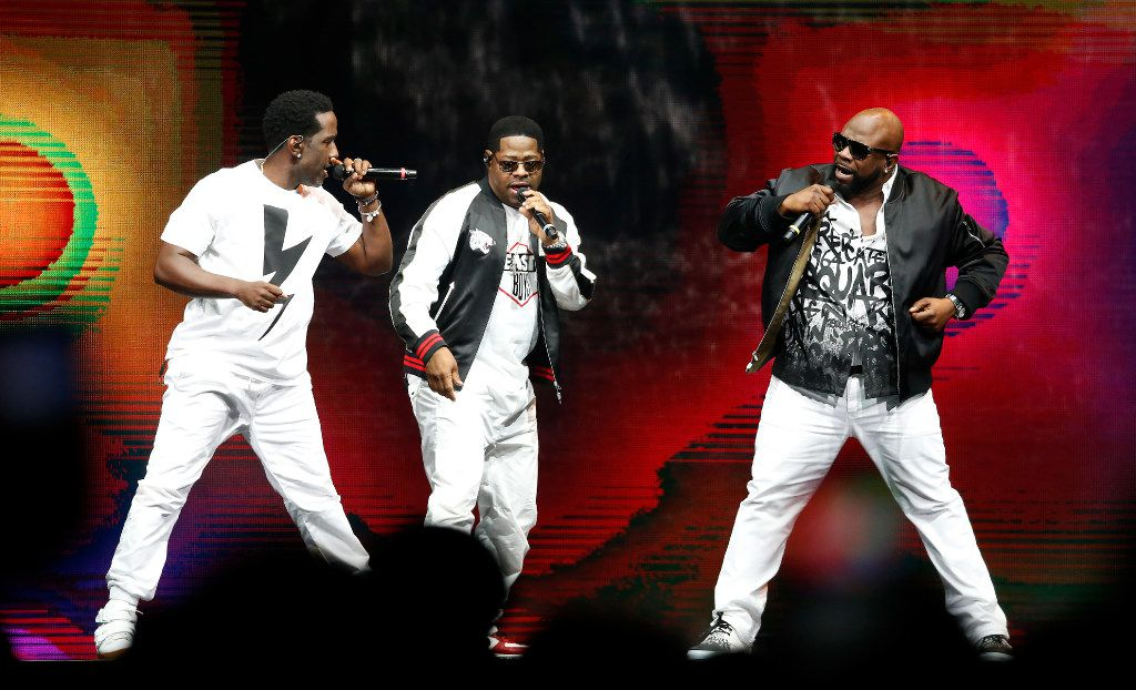 Members of Boyz II Men perform on stage during the Total Package Tour at American Airlines Center in Dallas, Tuesday, May 23, 2017. (Jae S. Lee/The Dallas Morning News)