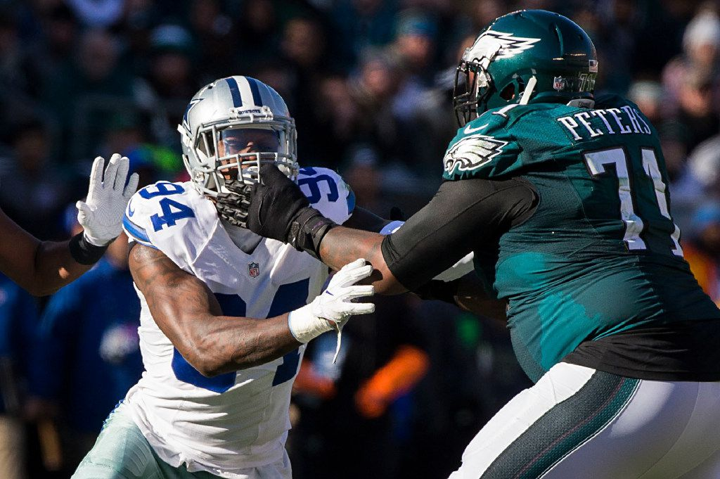 Dallas Cowboys defensive end Randy Gregory (94) works against Philadelphia Eagles tackle Jason Peters (71) during the first half of an NFL football game at Lincoln Financial Field on Sunday, Jan. 1, 2017, in Philadelphia. (Smiley N. Pool/The Dallas Morning News)