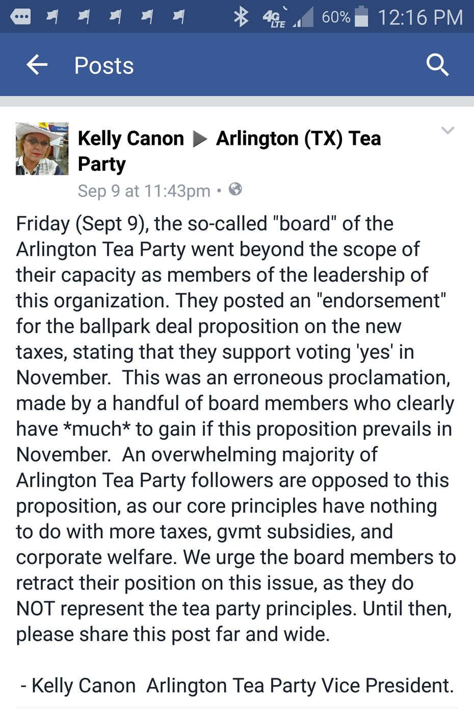 Kelly Canon posted this on Facebook after the Arlington Tea Party's board of directors voted in support of building a new Rangers stadium with taxpayer dollars.