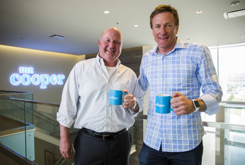 Nationstar Mortgage, which is soon to be rebranded as Mr. Cooper, CEO Jay Bray (left) and CMO Kevin Dahlstrom pose for a photo in the breezeway of their office building on Wednesday, March 30, 2016 at Nationstar Mortgage in Coppell. (Ashley Landis/The Dallas Morning News)