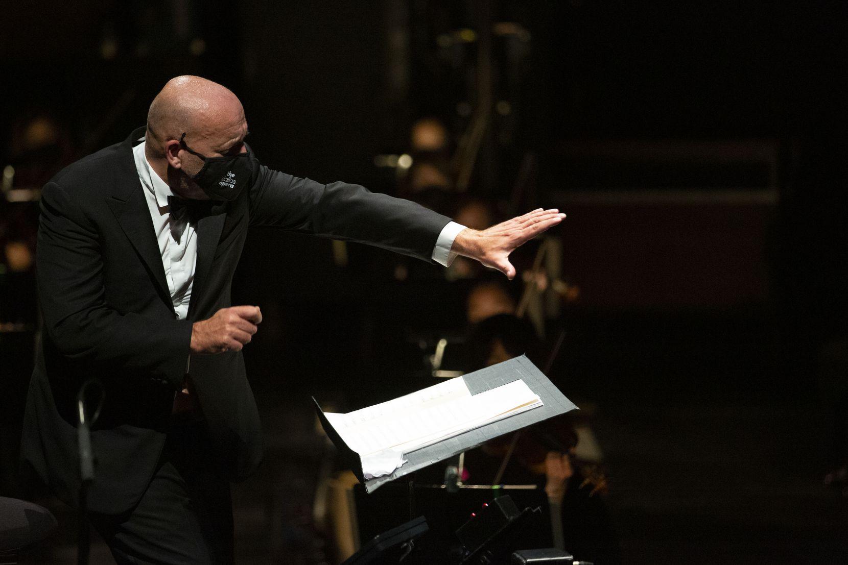 Emmanuel Villaume conducts the Dallas Opera Orchestra, with mezzo-soprano Joyce DiDonato, at the Winspear Opera House in Dallas, Texas on Monday, May 10, 2021.