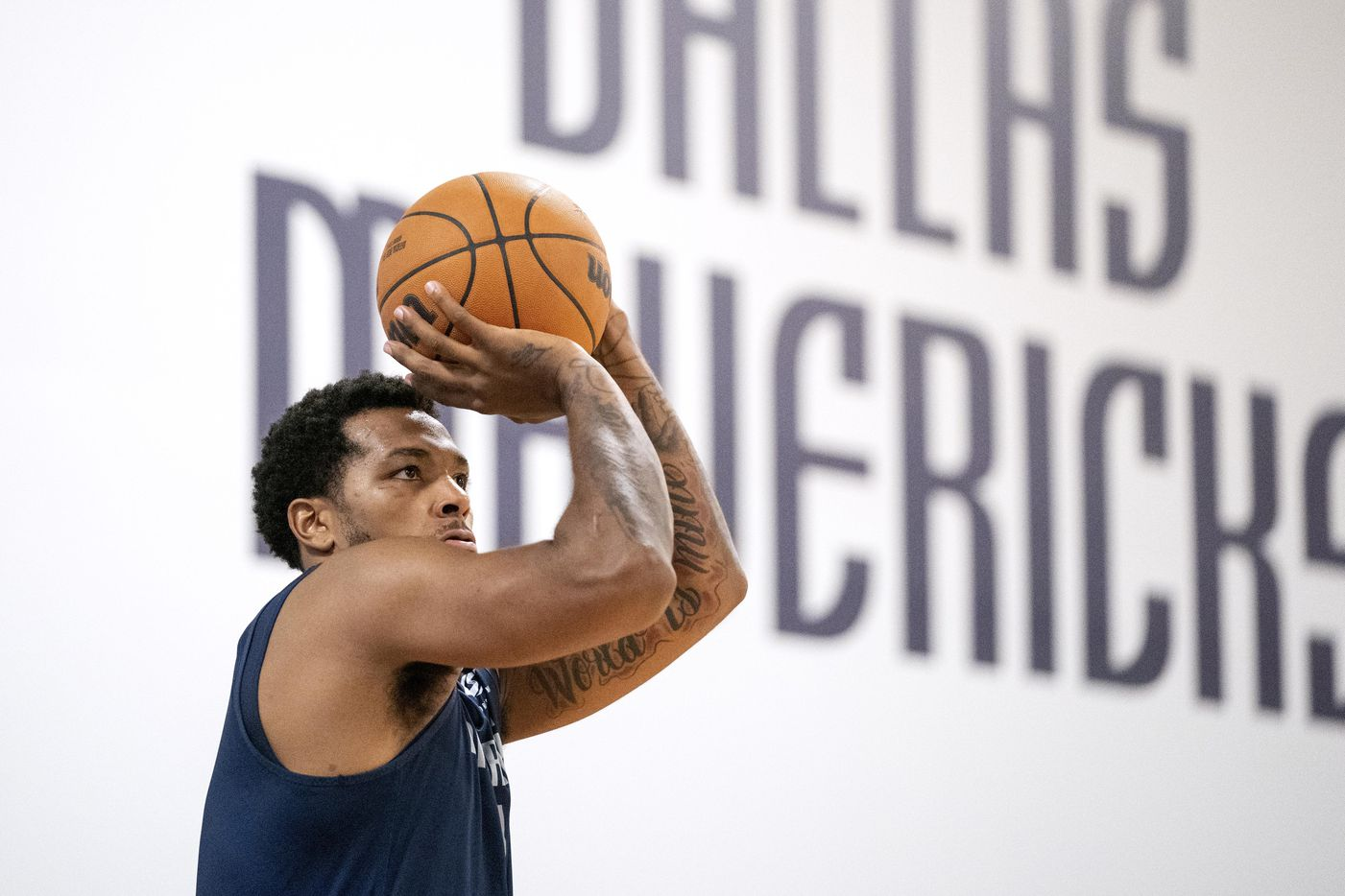Dallas Mavericks guard Sterling Brown (0) runs through a shooting drill during a training camp practice Wednesday, September 29, 2021 at the Dallas Mavericks Training Center in Dallas. (Jeffrey McWhorter/Special Contributor)