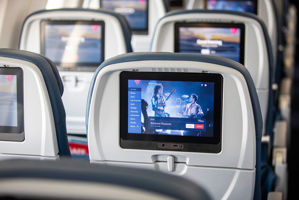 Seatback entertainment screens on the Airbus A220.