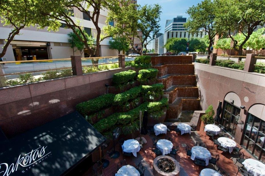 The sunken patio makes Dakota's Steakhouse in downtown Dallas feel cozy and hidden.