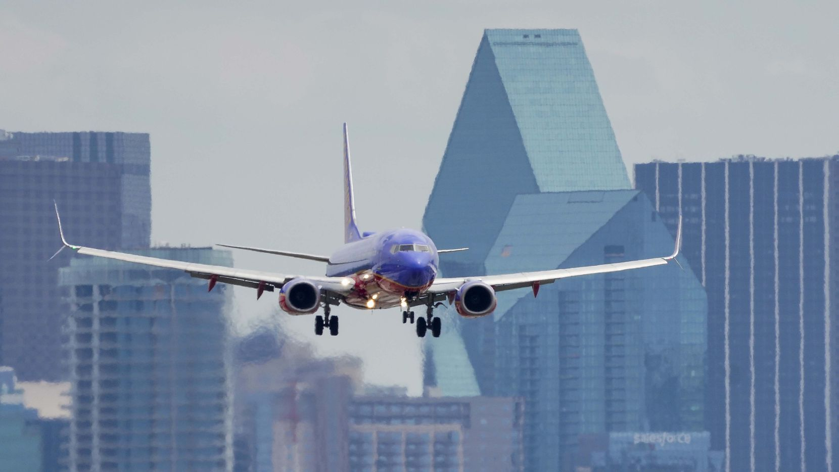 A Southwest Airlines 737 lands at Dallas Love Field in April.