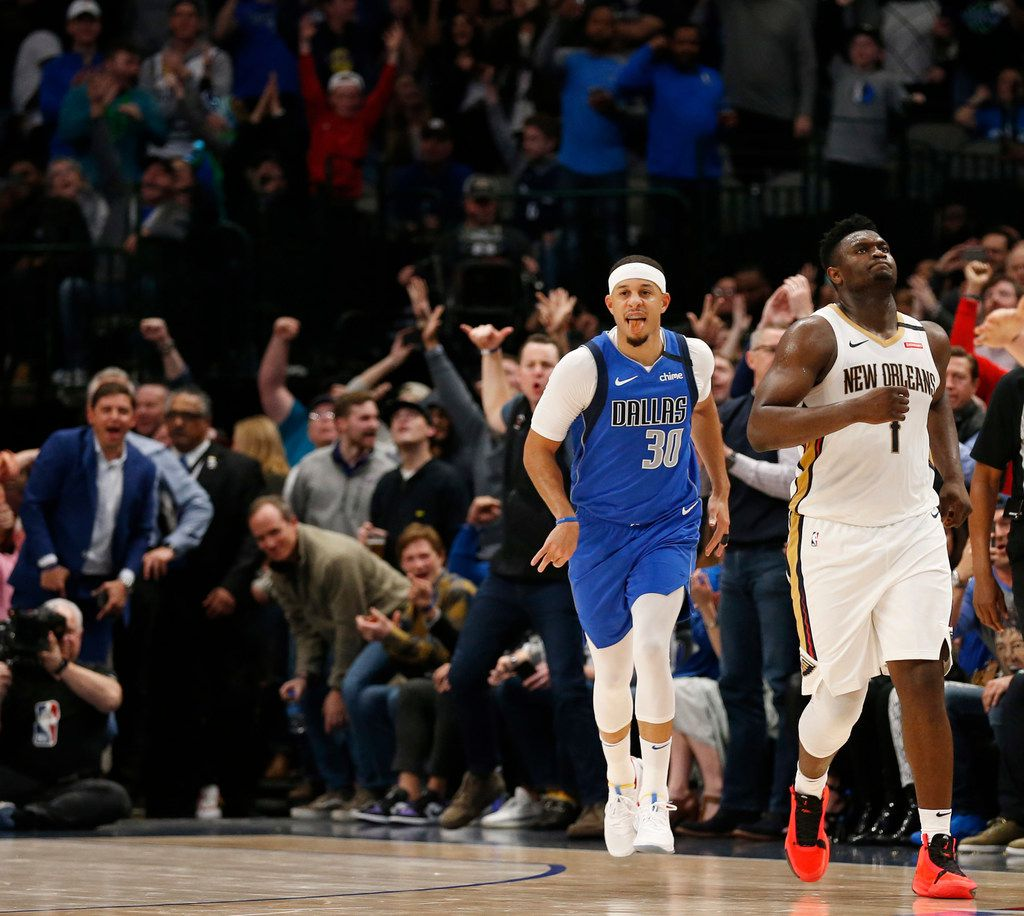 FILE - Mavericks guard Seth Curry (30) celebrates after making a 3-pointer late in the fourth quarter of play against the Pelicans at American Airlines Center in Dallas on Wednesday, March 4, 2020.