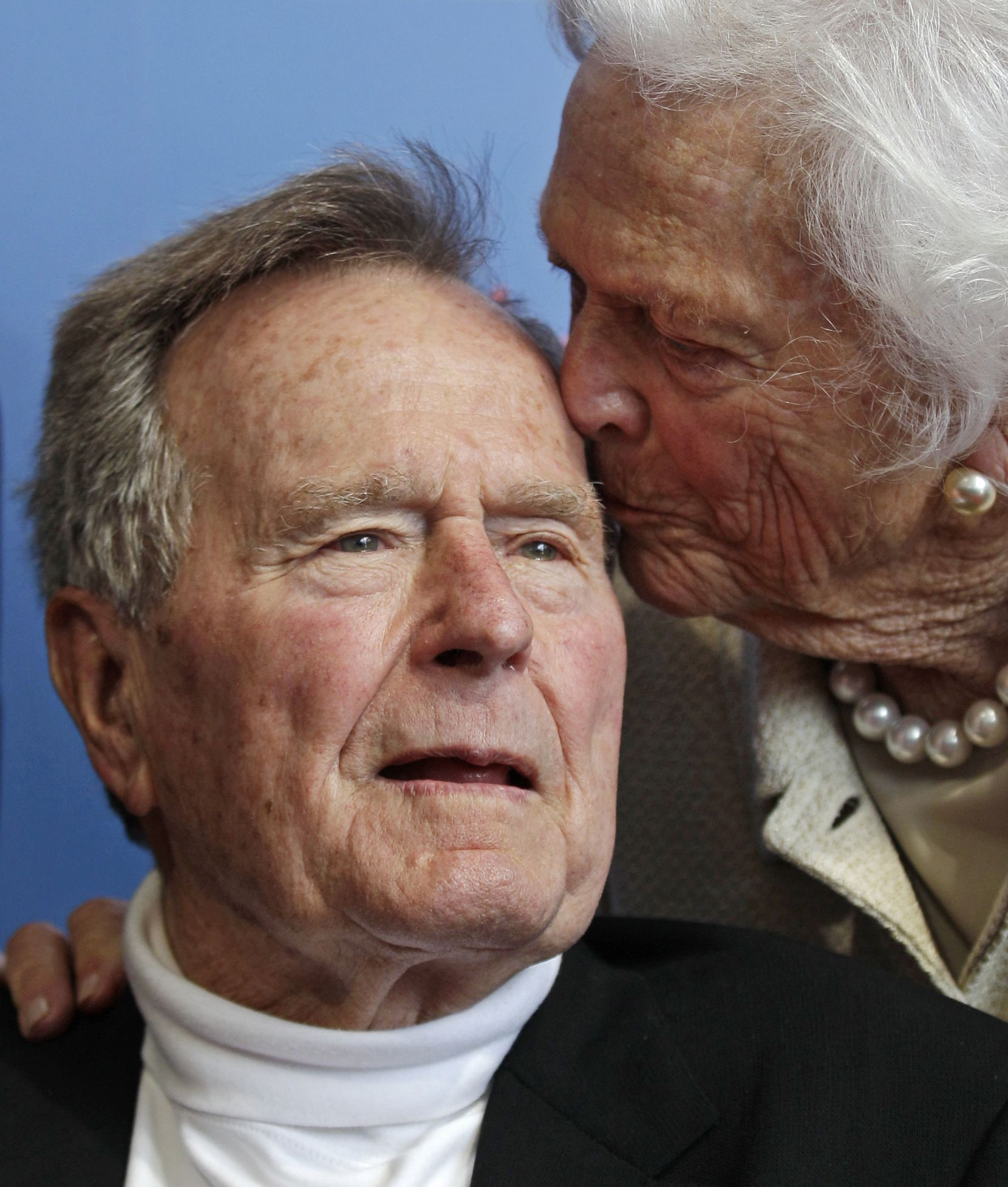 2012: Former President George H.W. Bush and his wife, Barbara, arrive for the premiere of HBO's documentary on his life near the family compound in Kennebunkport, Maine. At the time, the two had been married for 67 years.