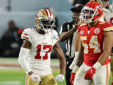 MIAMI, FLORIDA - FEBRUARY 02: Emmanuel Sanders #17 of the San Francisco 49ers reacts against the Kansas City Chiefs during the third quarter in Super Bowl LIV at Hard Rock Stadium on February 02, 2020 in Miami, Florida.