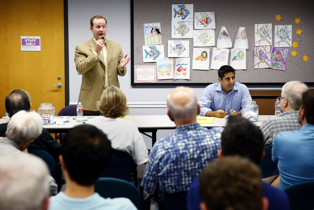 Philip Kingston (left) and Bobby Abtahi took part in a City Council candidate debate at the Oak Lawn Library before their runoff election in June 2013. (Tom Fox/Staff Photographer)