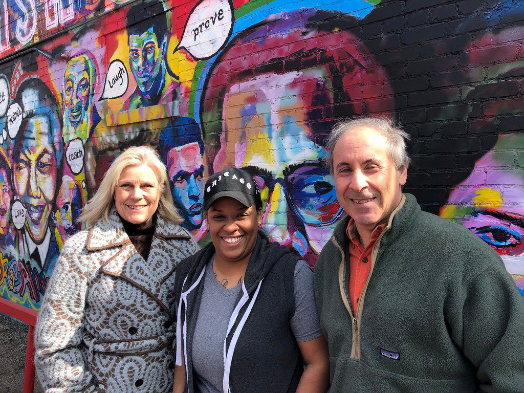Paige Flink, Brittney Spann - granddaughter of the founder of  Catfish Smith in South Dallas -  and Randy Paige. Catfish Smith was the last stop on the Flinks' retro tour of Dallas eateries that were around in the couple's dating days of 1977.