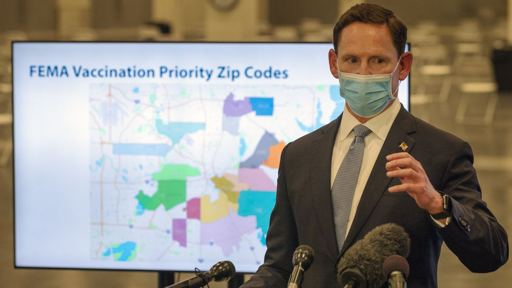 Dallas County Judge Clay Jenkins conducts a press conference about the COVID-19 vaccine operations with FEMA, on Tuesday, Feb. 23, 2021 at Fair Park in Dallas.
