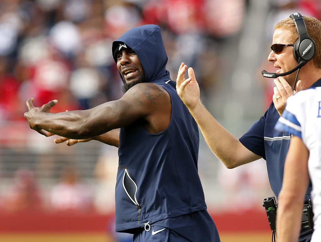 Dallas Cowboys injured wide receiver Dez Bryant (left) yells at fellow wide receiver Brice Butler (19) that he needs to reach out and catch that fourth quarter touchdown pass against the San Francisco 49ers at Levi's Stadium in Santa Clara, California, Sunday, October 2, 2016.(Tom Fox/The Dallas Morning News)