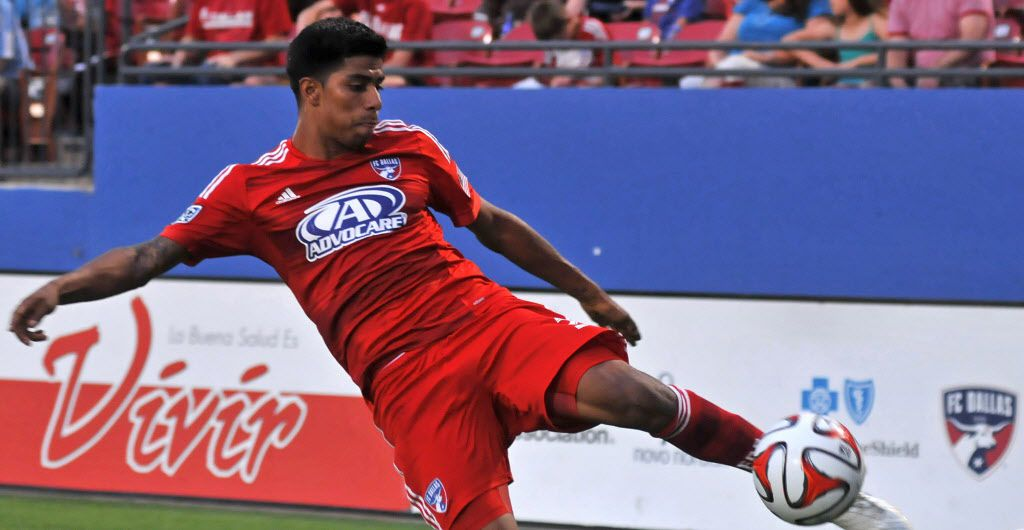 Moises Hernandez keeps the ball in play during a 2014 friendly at Toyota Stadium. Hernandez, who now plays in Guatemala, is conducting a camp in Mesquite for local children.
