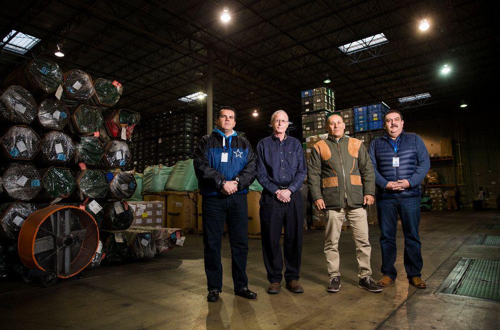 From left: Alvaro Barbosa of Bespoke Logistics; Jim McNamara of U.S.A. Border Logistics, L.L.C.; Carlos Lopez of Bespoke-Logistics; and Vicente Garza of Bespoke Logistics in their warehouse.