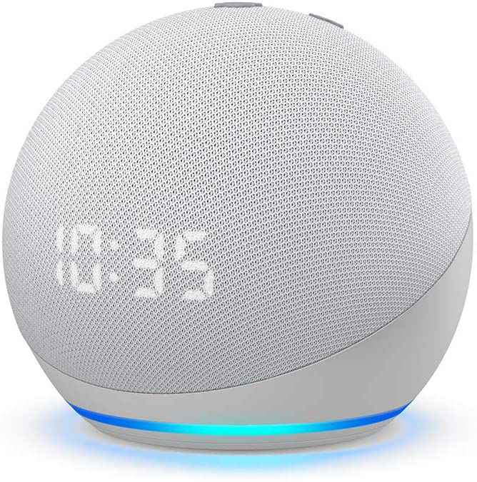 The Amazon Echo Dot (4th generation) with clock.
