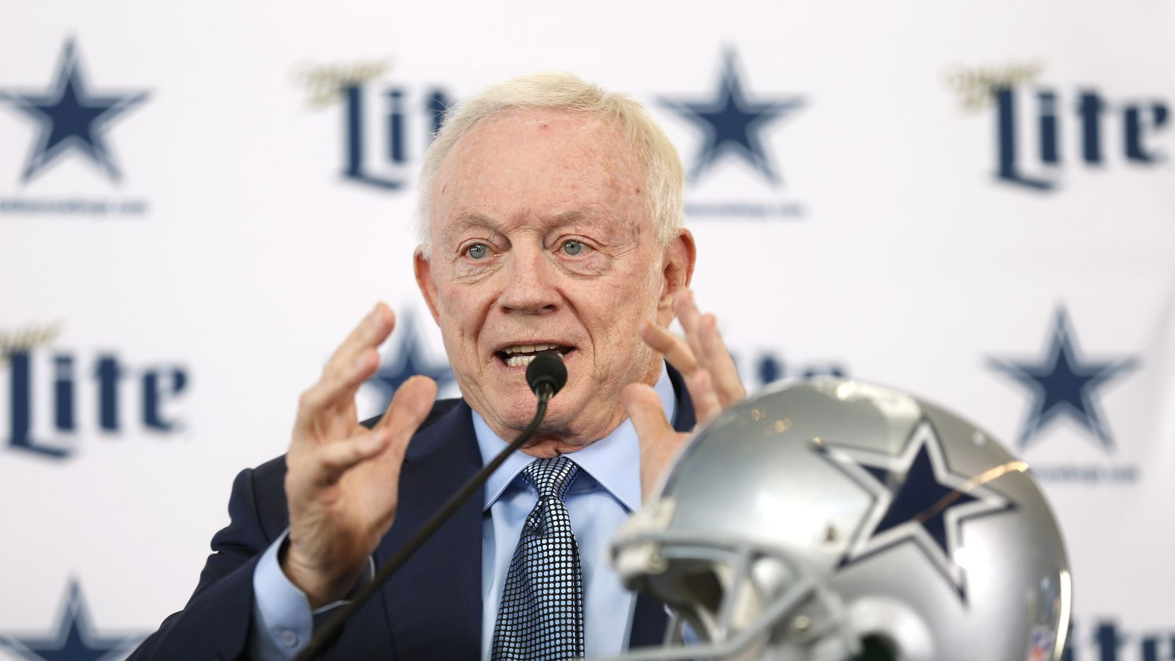 FILE - Cowboys owner Jerry Jones speaks during a press conference to announce new head coach Mike McCarthy in the Ford Center at The Star in Frisco on Wednesday, Jan. 8, 2020.