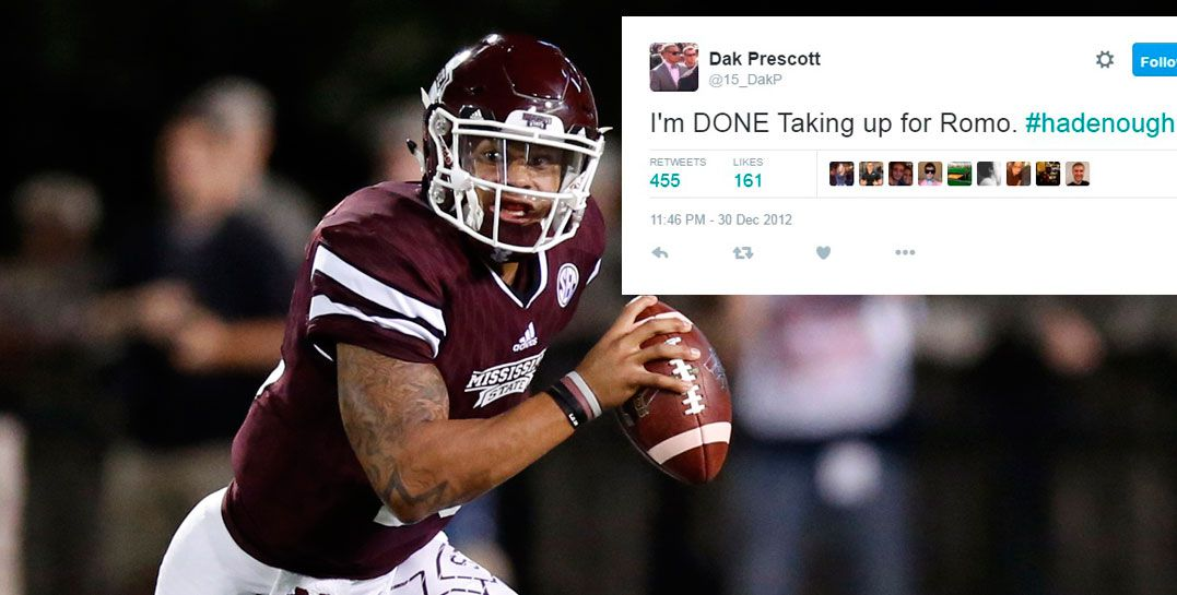 In this Saturday, Sept. 12, 2015, file photo, Mississippi State quarterback Dak Prescott looks to pass against LSU during the first half of an NCAA college football game in Starkville, Miss.  (AP Photo/Rogelio V. Solis, File0