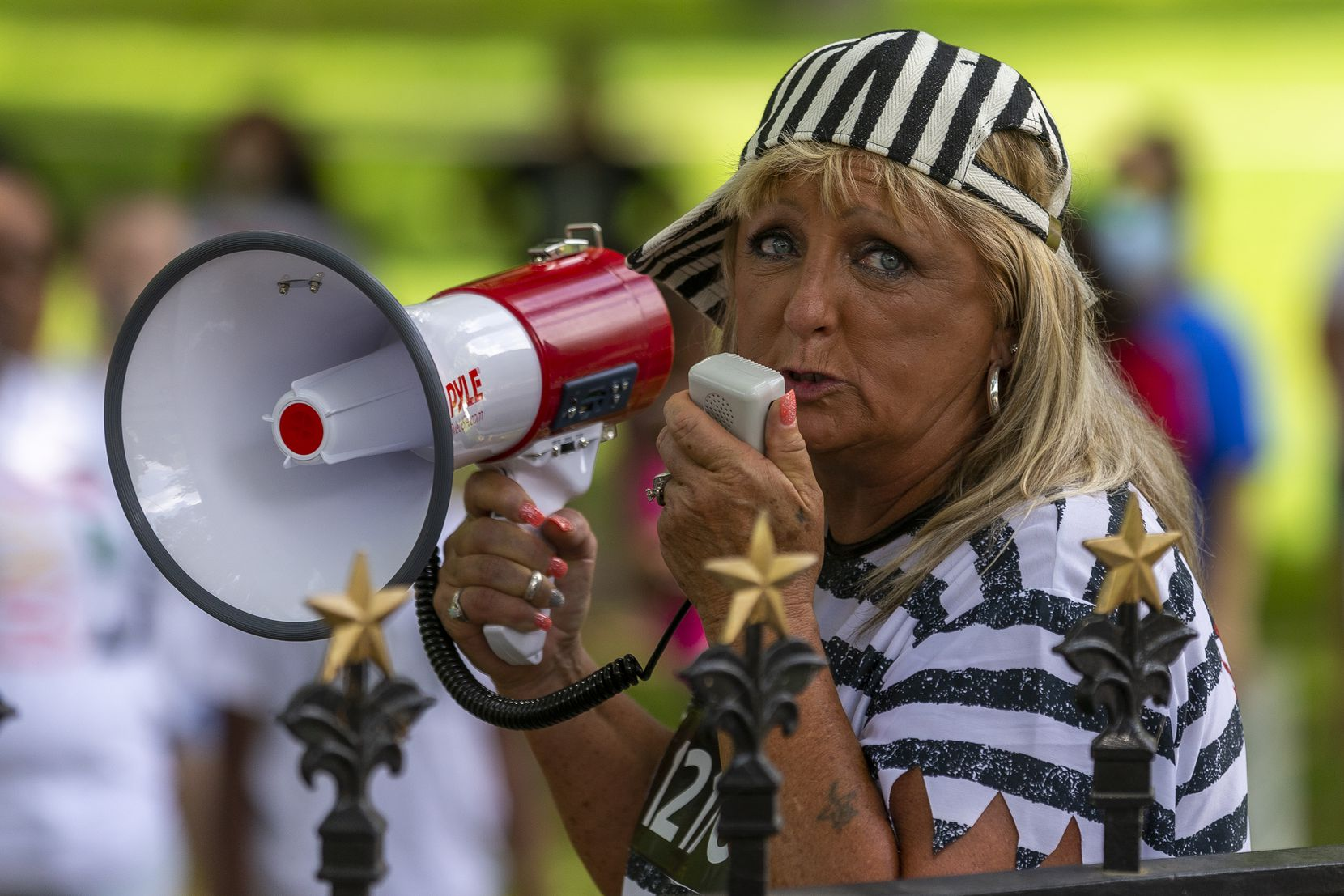 Tina Carraway, of Marlin, speaks during a rally with other family members of people incarcerated in Texas prisons for a rally outside of the governor's mansion to draw attention to the coronavirus in Texas prisons, Saturday, May 23, 2020. (Stephen Spillman/Special Contributor)