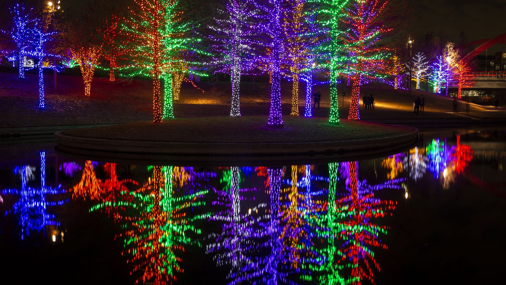 Vitruvian Park has more than 550 illuminated trees wrapped in 1.5 million sparkling LED lights.