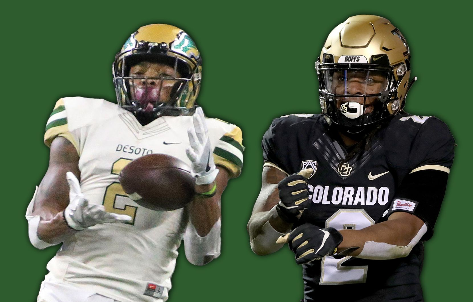 Laviska Shenault Jr. with DeSoto in 2016 (left) and Colorado in 2019 (right).