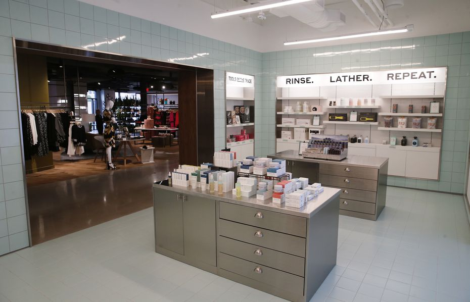 The Getchell's Apothecary area inside the Market by Macy's in Southlake Town Square is set off in its own bright and sterile section. It is named for Macy's first female executive.