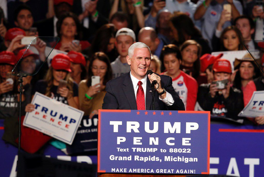 US Republican vice presidential candidate Mike Pence addresses the final rally of the GOP 2016 presidential campaign at Devos Place in Grand Rapids, Michigan on November 7, 2016. / AFP PHOTO / JEFF KOWALSKYJEFF KOWALSKY/AFP/Getty Images