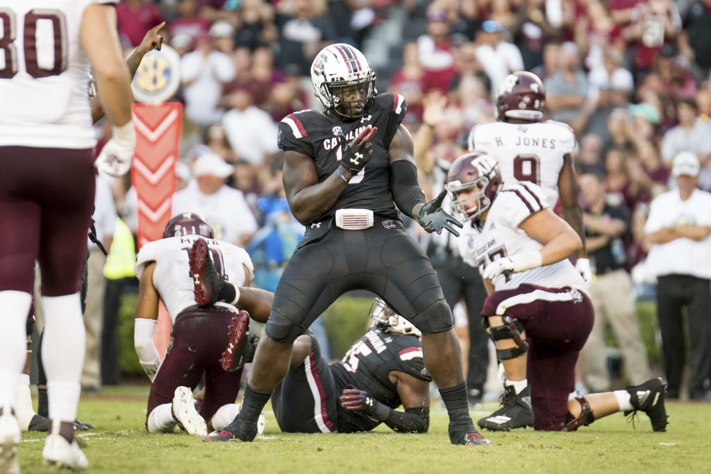 FILE - South Carolina defensive lineman Javon Kinlaw (3) celebrates a play during the second half of a game against Texas A&M on Saturday, Oct. 13, 2018, in Columbia, S.C.