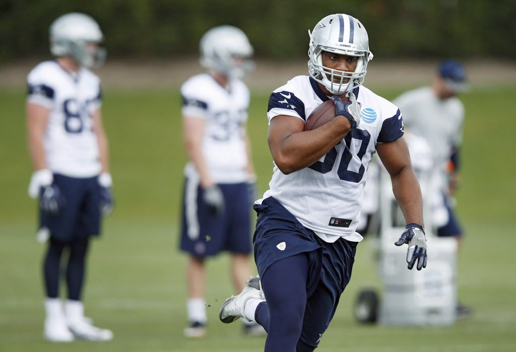 Dallas Cowboys tight end Rico Gathers (80) runs up the field after making a catch during rookie minicamp at The Star in Frisco on Friday, May 12, 2017. (Vernon Bryant/The Dallas Morning News)