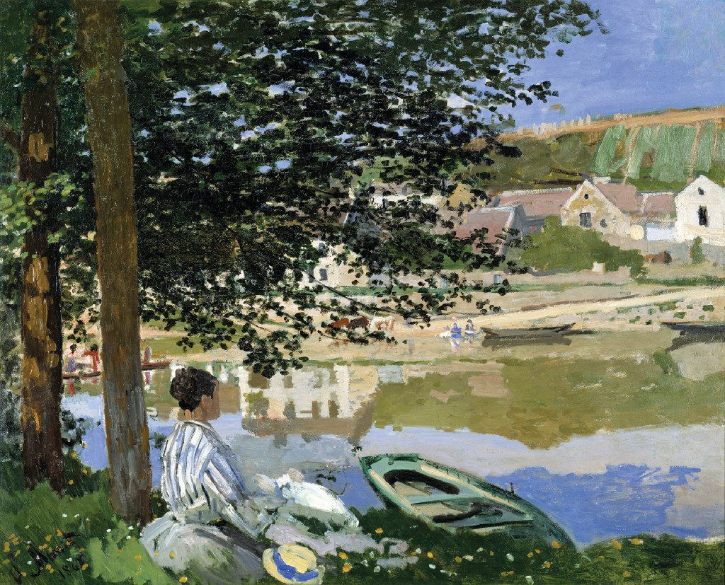 """Claude Monet's On The Bank Of The Seine, Bennecourt, from 1868, is currently on loan to the Kimbell in Fort Worth from the Art Institute of Chicago for an exhibit called, """"Monet: The Early Years."""" (Kimbell Art Museum)"""