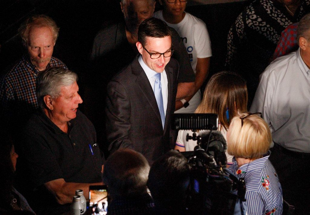 Scott Griggs greeted supporters as he waited for final election results to make sure he made the runoff in the  Dallas mayoral race at Tree in Dallas on Saturday, May 4, 2019.