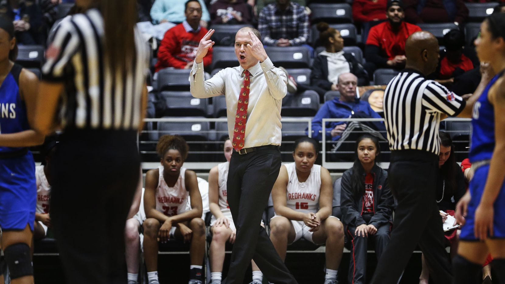 Frisco Liberty head coach Ross Reedy calls out a play during the first half of a girls basketball Class 5A Region II semifinal between Frisco Liberty and North Forney on Friday, Feb. 22, 2019 at the Curtis Culwell Center in Garland, Texas.