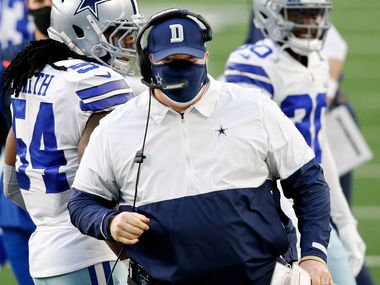 Dallas Cowboys head coach Mike McCarthy is pictured on the sideline during the first quarter against the San Francisco 49ers at AT&T Stadium in Arlington, Texas, Sunday, December 20, 2020. (Tom Fox/The Dallas Morning News)