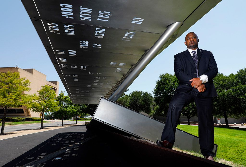 Dallas Police Sgt. Demetrick Pennie, shown in July at the police memorial in downtown Dallas, took over the Dallas Fallen Officer Foundation and started the Texas Fallen Officer Foundation in 2015.