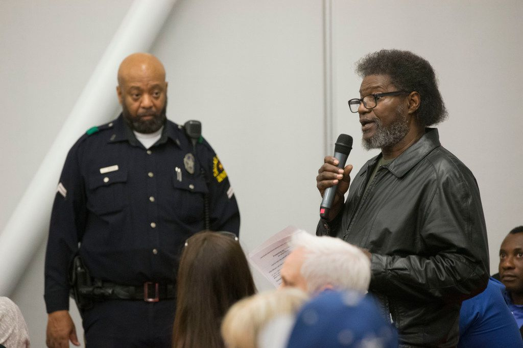 Former NAACP Dallas chapter president Arthur Fleming addresses the crowd during a town hall meeting to discuss the Citizens Police Review Board at Highland Hills Library in Dallas on Thursday, January 17, 2019. Fleming said the review board is important because racism is a national security issue. (Daniel Carde/The Dallas Morning News)