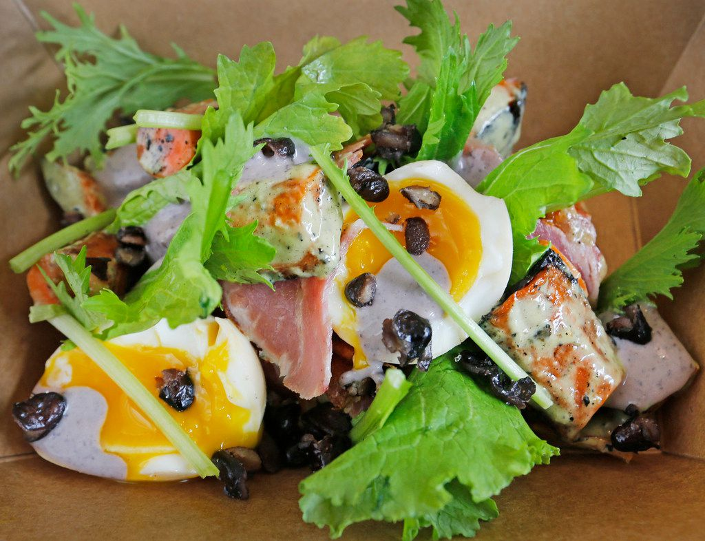 Carrot Salad with pickled egg, Texas black beans, belly cotto and profound greens, available at the Petra and the Beast restaurant on Haskell Avenue in Dallas on Wednesday, August 8, 2018. (Louis DeLuca/The Dallas Morning News)