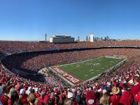 Fans watch as Texas Longhorns and Oklahoma Sooners compete in the opening drive in the Red River Showdown at the Cotton Bowl in Dallas on Saturday, October 12, 2019. Oklahoma Sooners defeated Texas Longhorns 34-27.