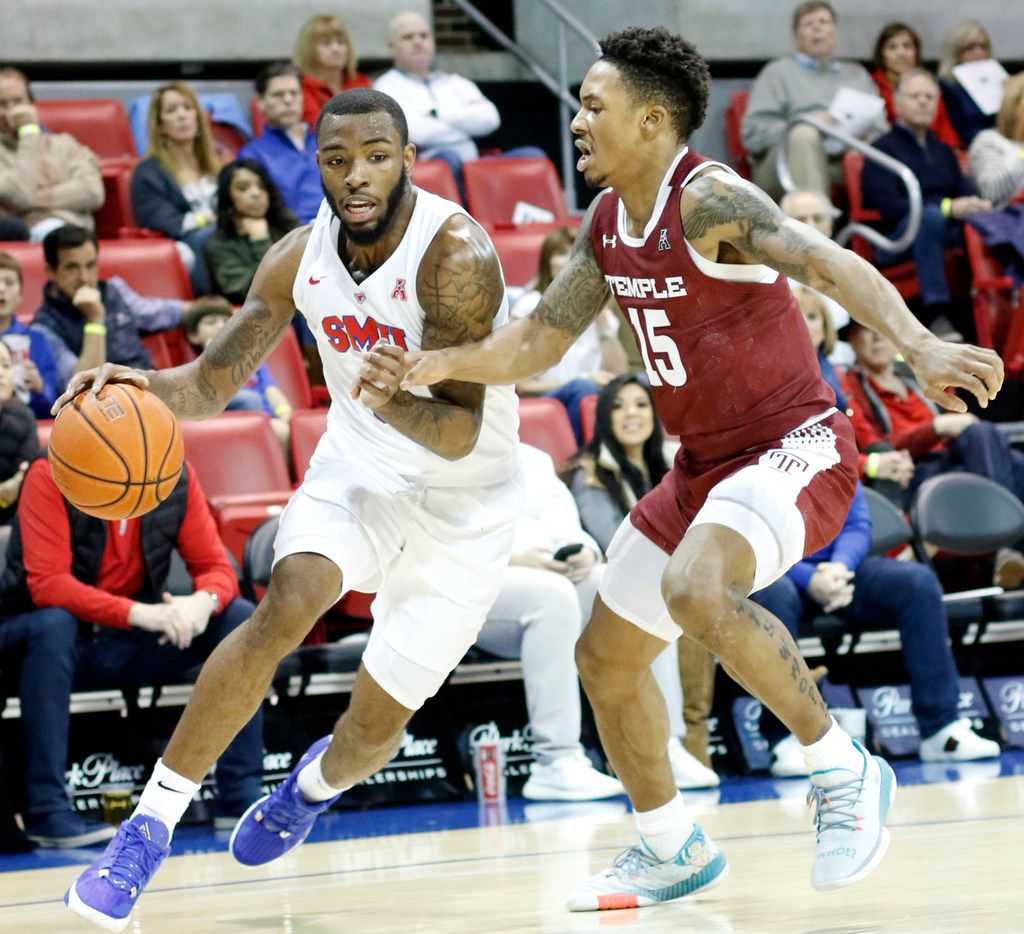 SMU guard Tyson Jolly (0) drives hard to the basket as he is defended by Temple guard Nate Pierre-Louis (15) during first half action. SMU defeated Temple, 68-52. The two teams played their NCAA Division 1mens basketball game at  Moody Coliseum on the campus of SMU in Dallas on January 18, 2020. (Steve Hamm/ Special Contributor)