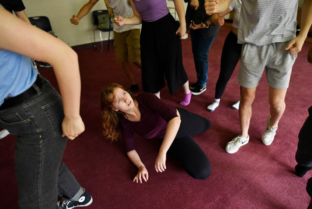 """""""We almost laugh about it because we're so angry,"""" Angie Hogue, 17, says about Cry Havoc Theater Company's experience researching the detention of child immigrants. Here she rehearses the resulting play, Crossing the Line."""