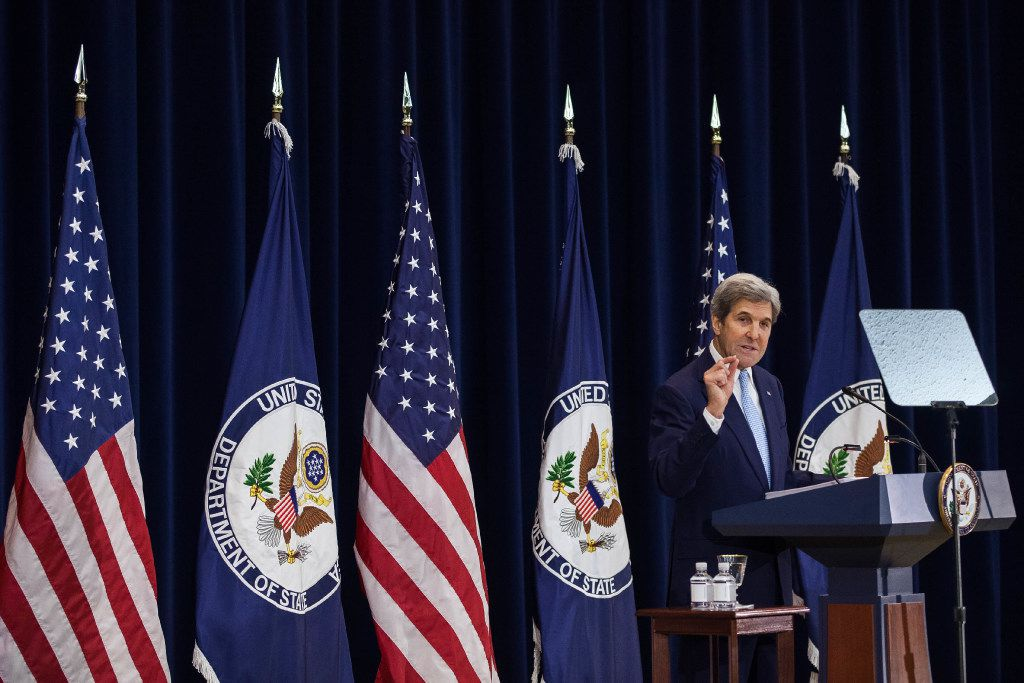 U.S. Secretary of State John Kerry delivers a speech on Middle East peace at The U.S. Department of State on December 28, 2016 in Washington, DC. (Photo by Zach Gibson/Getty Images)