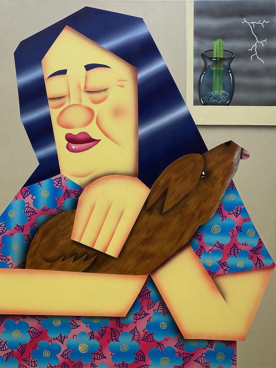 A painting of Huynh's mother and her dog, Downy.